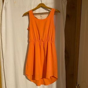 EUC Pink Rose size Large orange Dress
